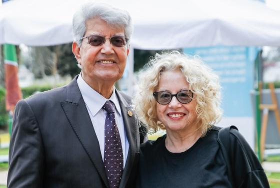 דוד לוי וחוה אלברשטיין שקיבלו את פרס יקירי מכללת כנרת. צילום: ארזביט - Visual Storyteller